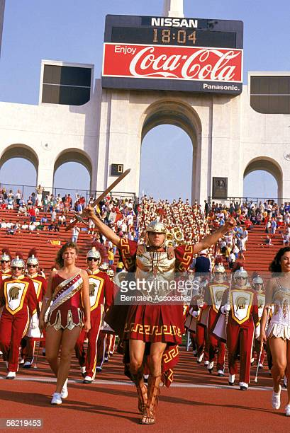 The USC Trojans marching band performs during a November 1986 game at the Coliseum in Los Angeles, California.