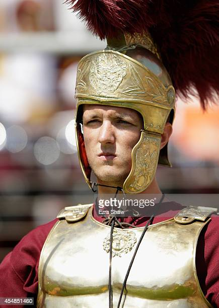 The USC Trojans mascot stands on the side of the field during their game against the Stanford Cardinal at Stanford Stadium on September 6 2014 in...