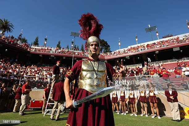 The USC Trojans mascot works the sideline during their game against the Stanford Cardinal at Stanford Stadium on September 15 2012 in Palo Alto...