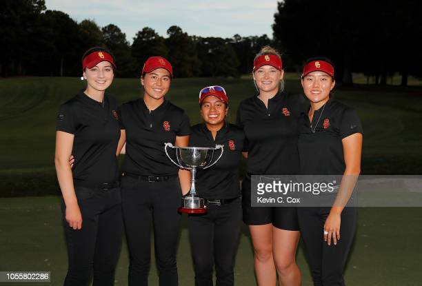 The USC Trojans pose with the trophy after defeating the Stanford Cardinal during day three of the 2018 East Lake Cup at East Lake Golf Club on...
