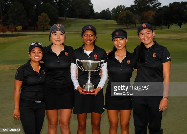 The USC Trojans pose with the trophy after winning 32 over the Stanford Cardinal during day three of the 2017 East Lake Cup at East Lake Golf Club on...