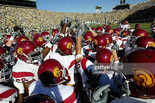 The USC Trojans rally before the game against the Oregon Ducks on September 24 2005 at Autzen Stadium in Eugene Oregon USC defeated Oregon 4513