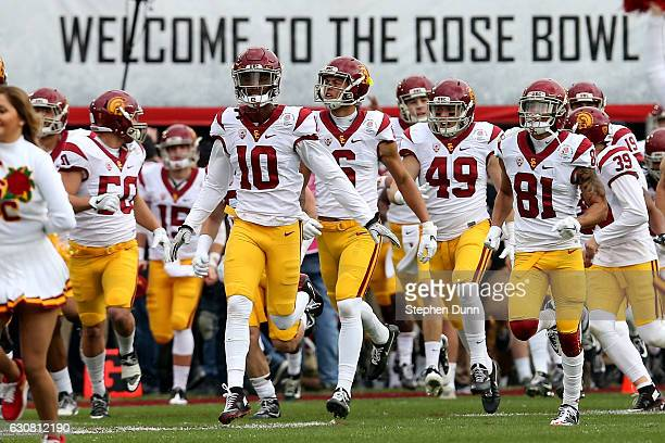 The USC Trojans run onto the field prior to the 2017 Rose Bowl Game presented by Northwestern Mutual against the Penn State Nittany Lions at the Rose...