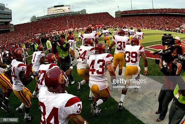 The USC Trojans take the field against the Nebraska Cornhuskers on September 15 2007 at Memorial Stadium in Lincoln Nebraska