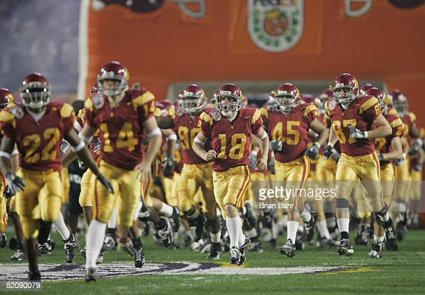 The USC Trojans take the field against the Oklahoma Sooners in the 2005 FedEx Orange Bowl National Championship on January 4 2005 at Pro Player...