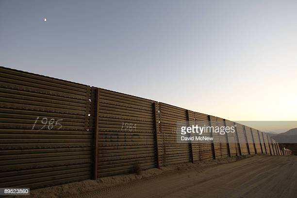 The US-Mexico border fence is seen as Border Patrol agents carry out special operations following the first fatal shooting of a US Border Patrol...