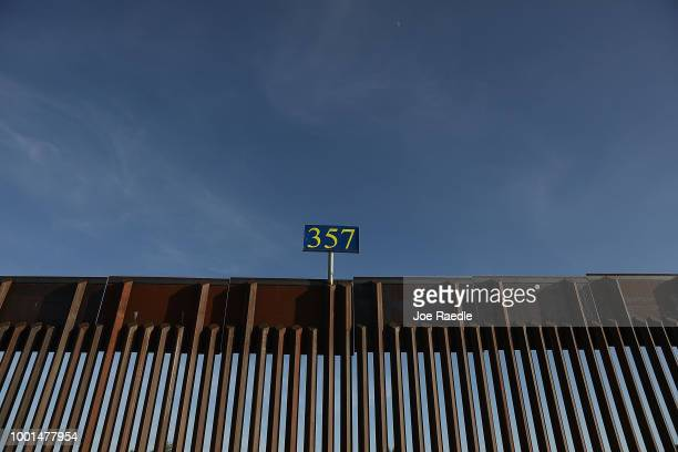 The US/Mexico border fence is seen on July 18 2018 in Sunland Park New Mexico A courtordered July 26th deadline is approaching for the US government...