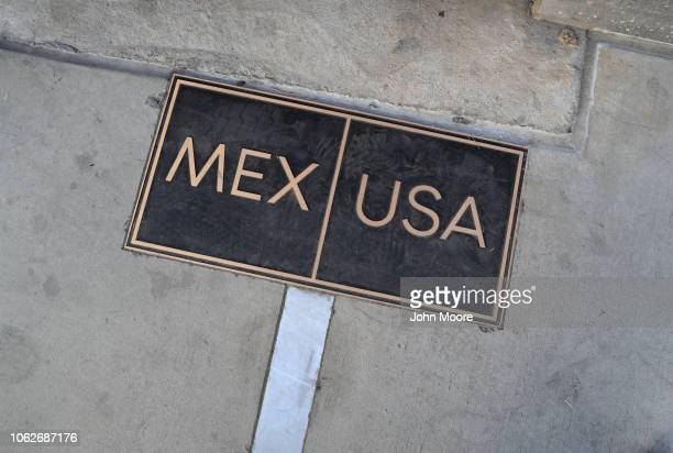 The USMexico border is marked on November 16 2018 in San Ysidro CA US border agencies continued to fortify the border with razor wire and additional...