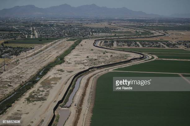 The US/Mexico border is seen on June 19 2018 in El Paso Texas The Trump administration is enforcing a policy of zero tolerance in which immigrant...