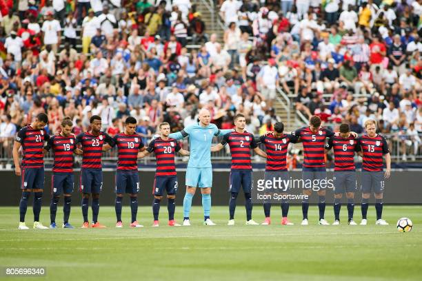The USMNT before the USA vs Ghana friendly soccer match on July 1 2017 at Pratt Whitney Stadium at Rentschler Field in Hartford Connecticut The US...