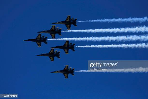 The USN Blue Angels and the USAF Thunderbirds fly over Brooklyn to pay tribute to NYC COVID19 Frontline Workers at the Brooklyn Navy Yard on April 28...
