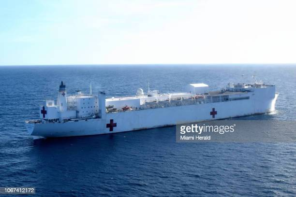 The USNS Comfort a US medical ship floats off the coast of Riohacha Colombia The medical vessel is on a fourcountry tour of the region providing...