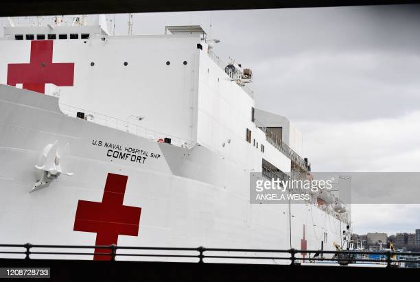 The USNS Comfort navy hospital ship sits docked at Pier 90 on March 31 2020 in New York City The ship arrived in New York March 30 as New York...