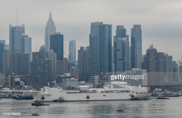 The USNS Comfort Ship arrives on March 30 2020 in New York as seen from Weehawken New Jersey The naval hospital has 1000 beds and 12 operating rooms...