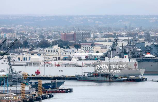 The USNS Mercy sits in port at Naval Base San Diego on March 18 2020 in San Diego California The United States is to deploy military hospital ships...