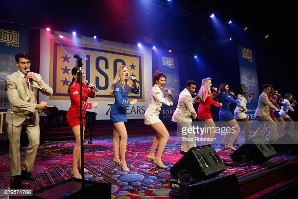 The USO Troupe the USO 75th Anniversary Armed Forces Gala Gold Medal Dinner at Marriott Marquis Times Square on December 13 2016 in New York City
