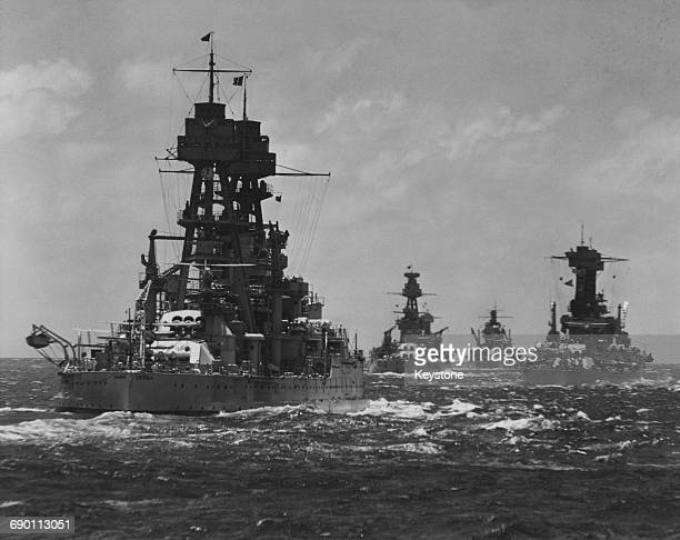 The USS Arizona a Pennsylvaniaclass super dreadnought battleship of the United States Navy at sea with the USS Nevada and the Pacific Fleet circa...