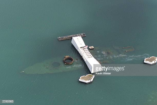 The USS Arizona Memorial in Pearl Harbor, Hawaii, May 16, 2001. Photo by Kevin Winter/Touchstone Pictures/Getty Images.