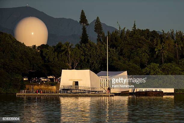 The USS Arizona Memorial is seen before the start of a ceremony commemorating the 75th anniversary of the attack on Pearl Harbor at Kilo Pier on...