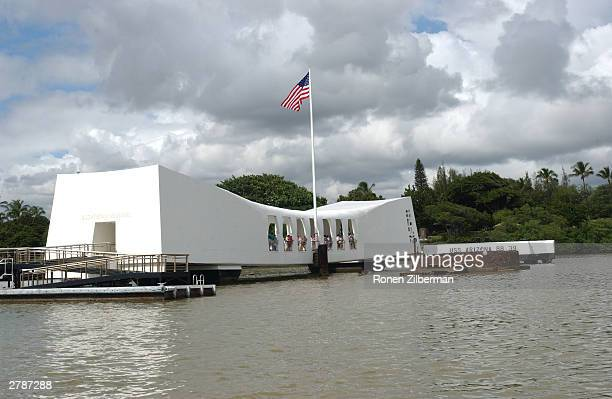 The USS Arizona Memorial is seen December 5 2003 at Pearl Harbor in Honolulu Hawaii December 7 marks the 62nd anniversary of the bombing of Pearl...