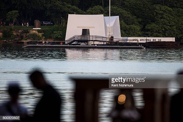 The USS Arizona Memorial is seen during a memorial service marking the 74th Anniversary of the attack on the US naval base at Pearl Harbor December...
