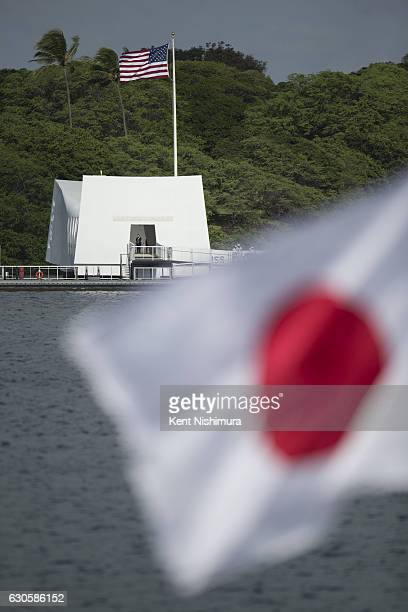 The USS Arizona Memorial is seen off of Ford Island from Joint Base Pearl Harbor Hickam's Kilo Pier on December 27 2016 in Honolulu Hawaii Shinzo Abe...