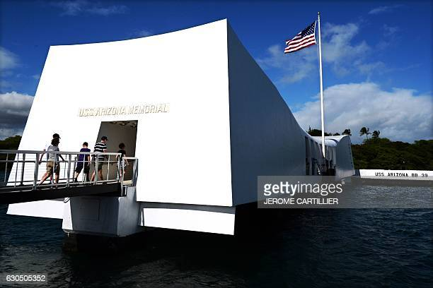 The USS Arizona Memorial marking the resting place of the crewmen killed on December 7 1941 when Japanese Naval Forces bombed Pearl Harbor is...