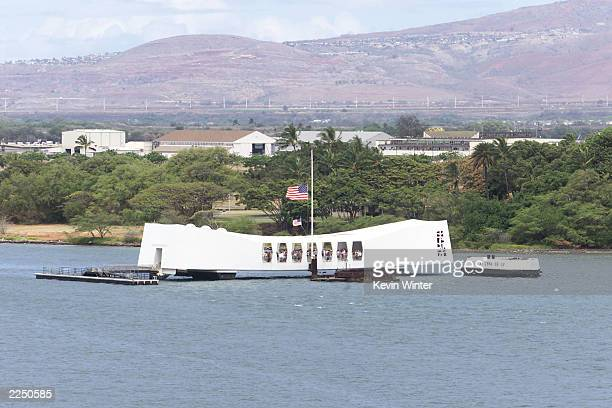 The USS Arizona Memorial photographed from the aircraft carrier USS John C Stennis in Pearl Harbor Hawaii May 16 2001 Photo by Kevin...