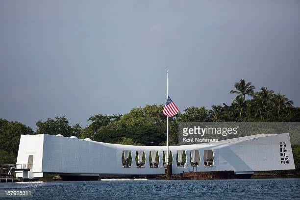 The USS Arizona Memorial sits off of Ford Island during the 71st Annual Memorial Ceremony commemorating the WWII Attack On Pearl Harbor at the World...