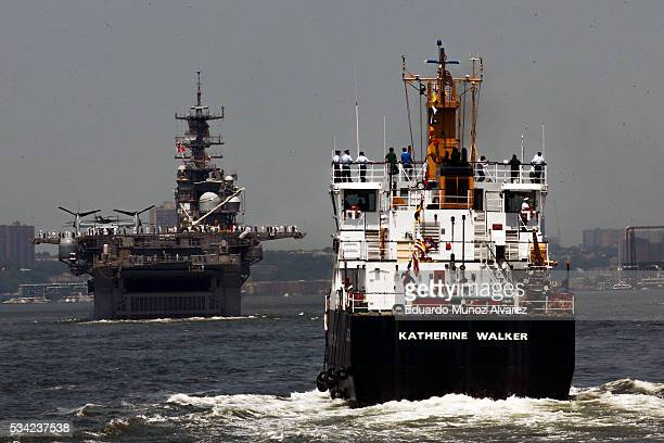 The USS Bataan and USCGC Katherine Walker arrive in New York Harbor for Fleet Week on May 25 2016 in New York City Nearly 4500 Sailors Marines and...