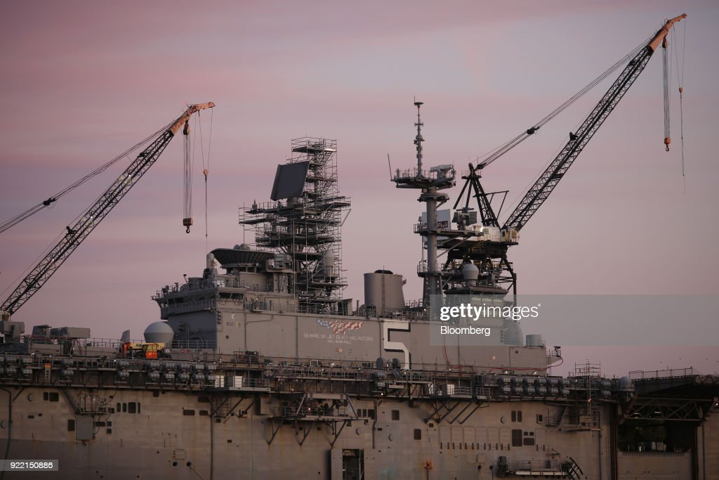 The USS Bataan (LHD-5) Wasp-class amphibious assault ship sits docked at the BAE Systems Plc Norfolk Ship Repair facility on the Elizabeth River in Norfolk, Virginia, U.S., on Tuesday, Jan. 9, 2018. BAE Systems Plc is scheduled to release earnings figures on February 22. Photographer: Luke Sharrett/Bloomberg via Getty Images