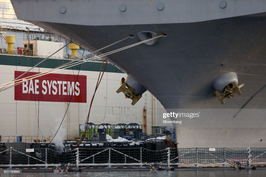 The USS Bataan (LHD-5) Wasp-class amphibious assault ship sits docked in front of signage at the BAE Systems Plc Norfolk Ship Repair facility on the Elizabeth River in Norfolk, Virginia, U.S., on Tuesday, Jan. 9, 2018. BAE Systems Plc is scheduled to release earnings figures on February 22. Photographer: Luke Sharrett/Bloomberg via Getty Images