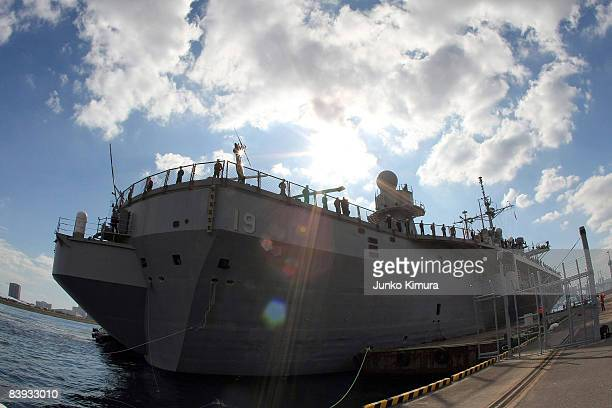 The USS Blue Ridge approaches Harumi Pier on December 6, 2008 in Tokyo, Japan. The warship, which was commissioned on November 14 has been forward...