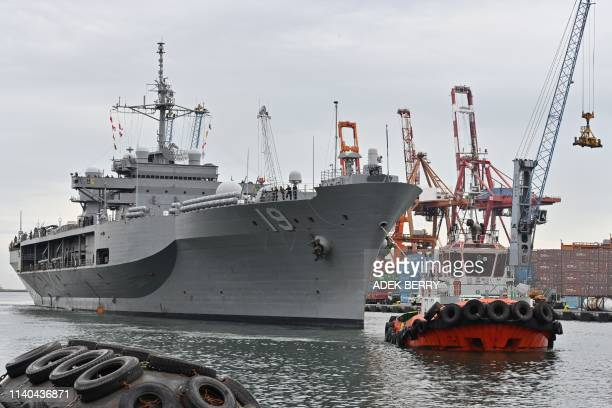 The USS Blue Ridge arrives at Tanjung Priok in Jakarta on May 1 2019 The US Seventh Fleet flagship USS Blue Ridge visited Indonesia on May 1 to...
