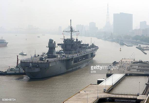 The USS Blue Ridge prepares to berth in Shanghai on May 6 2016 The visit of the Blue Ridge in the commercial hub of Shanghai comes just days after...