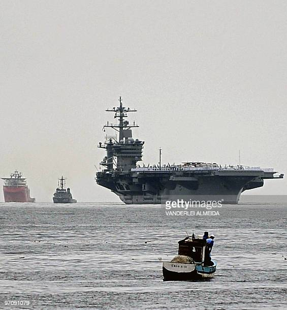 The USS Carl Vinson Nimitz class aircraft supercarrier arrives at Guanabara Bay in Rio de Janeiro Brazil on February 26 comming from Haiti after...