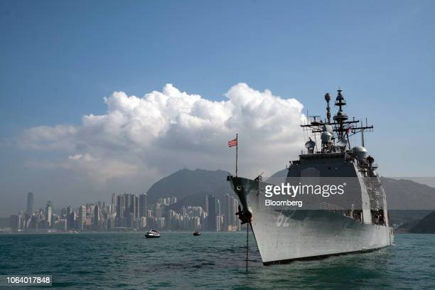 The USS Chancellorsville , a Ticonderoga-class guided-missile cruiser and part of the U.S Navy 7th Fleet, sits anchored in Hong Kong, China, on...