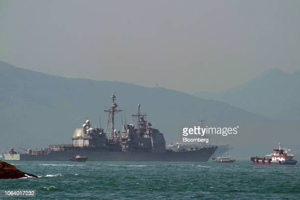 The USS Chancellorsville, a Ticonderoga-class guided-missile cruiser, part of the U.S Navy 7th Fleet, sits anchored in Hong Kong, China, on...