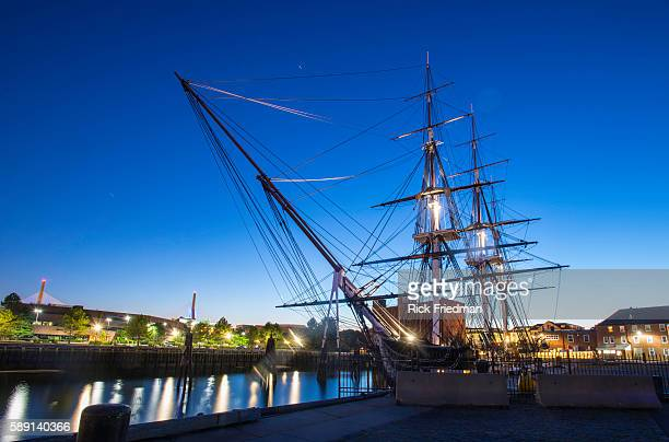 The USS Constitution also know as Old Iron Sides the worlds oldest commissioned naval vessel in port in at the Charlestown Navy Yard in Boston Harbor...