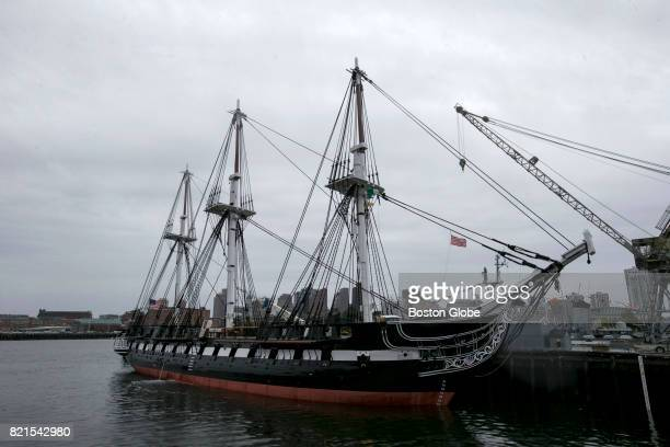 The USS Constitution is pictured at dock in Boston Harbor on Jul 24 2017 This is its first day in the water following 26 months in dry dock at the...