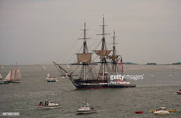 The USS Constitution know as Old Ironsides sailing sailing under her own power in Boston Harbor on the 200th anniversary of the victory over HMS...