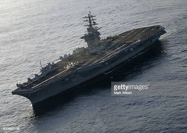 The USS Eisenhower is shown off the coast of Virginia December 10 2015 in the Atlantic Ocean US Secretary Secretary of Defense Ash Carter visited the...