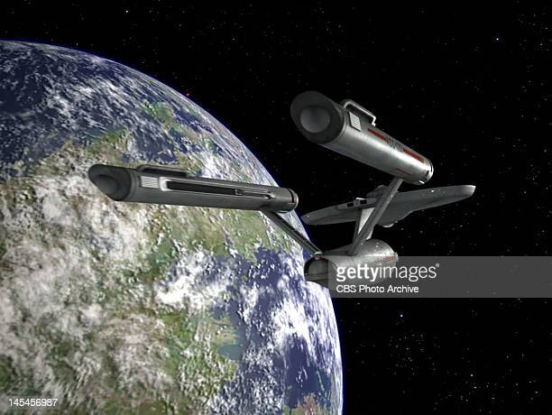 The USS Enterprise in the STAR TREK episode A Piece of the Action Original air date January 12 season 2 episode 17 Image is a screen grab
