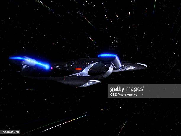 The USS Enterprise in the STAR TREK THE NEXT GENERATION episode Hollow Pursuits Original air date April 28 1990 Season 3 episode 21 Image is a screen...