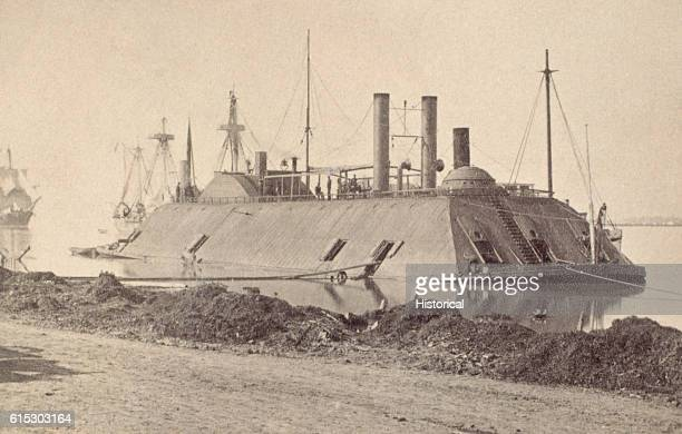 The USS Essex an ironclad warship anchored near Baton Rouge Louisiana during the Civil War The Richmond and the Mississippi lie off her stern |...