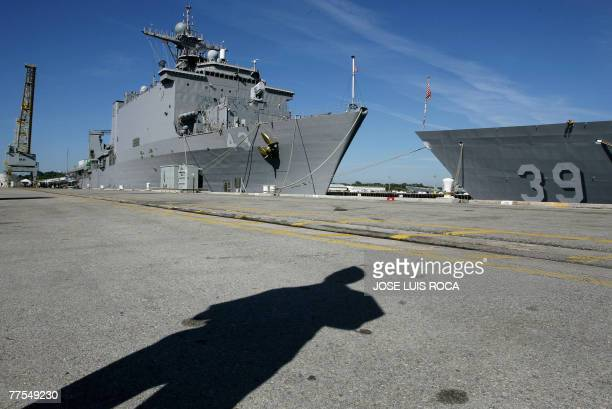 The USS Fort McHenry warship lies moored 29 October 2007 at the Naval Station in Rota southern Spain to participate in the Africa Partnership Station...