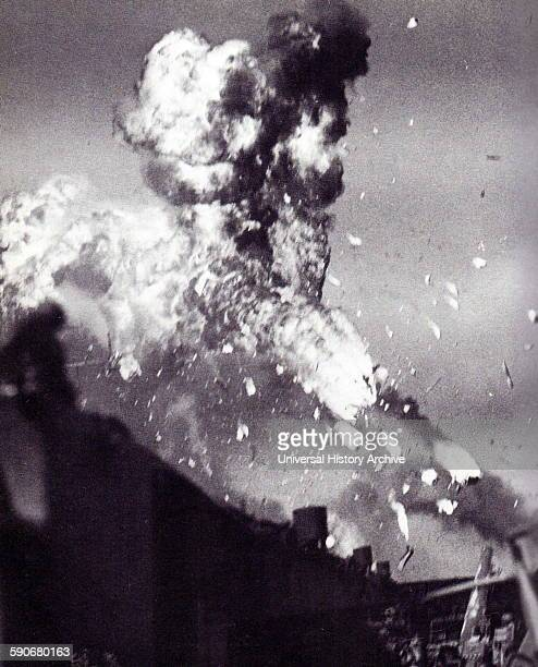 The USS Intrepid is hit by a japanese kamikaze aircraft pilot attack 1944 USS Intrepid Essexclass aircraft carrier built during World War II for the...