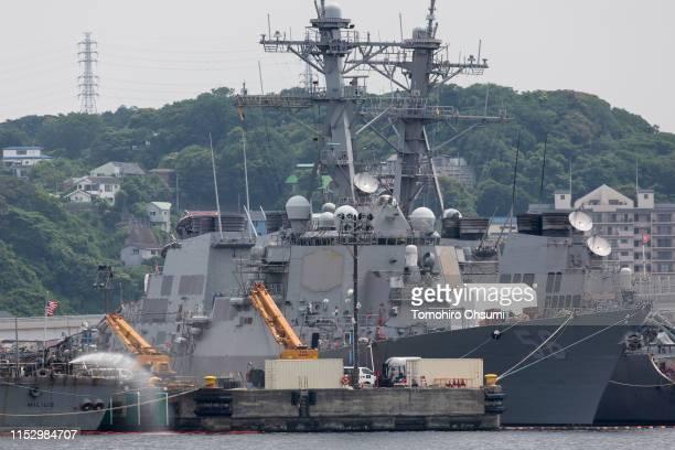 The USS John S. McCain destroyer is moored in a dock at the Yokosuka Naval Base on June 01, 2019 in Yokosuka, Japan. On Thursday, U.S. President...