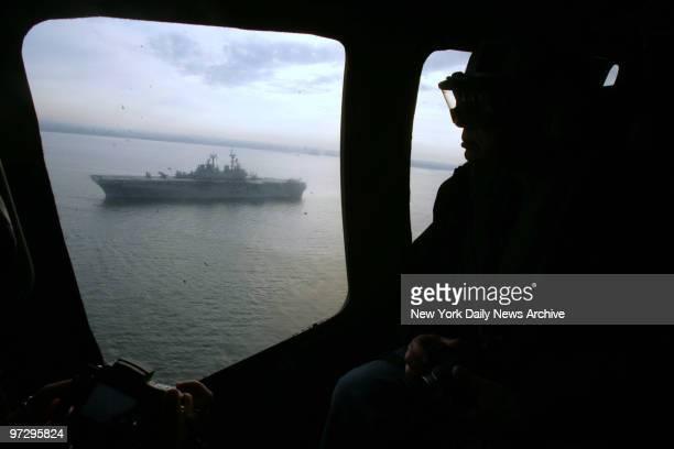The USS Kearsarge floats beyond the Verrazano Bridge as it prepares to enter New York Harbor as Fleet Week in New York City Begins Wednesday morning