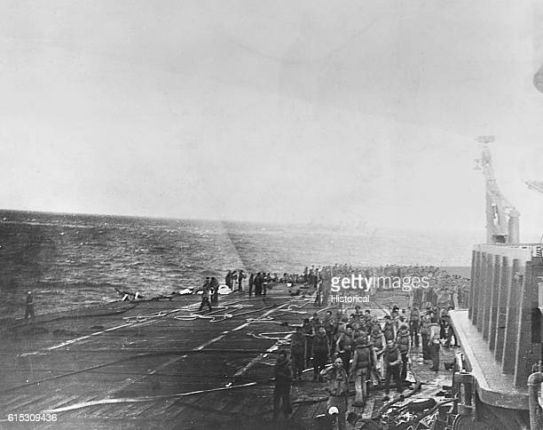 The USS Lexington crew prepares to abandon ship